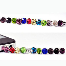 Iphone 4s Jack Plugs UK - 3000pcs Lot Diamond Dust Plug Universal 3.5mm Cell Phone Plug Charms Cap For Iphone 4s 5s 5c 6 6s 6splus 7 7plus Samsung Note 3 S4 S5 S6 S7