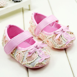 Wholesale Hot Pink Infant Shoes - New Arrival Hot Sale Baby Shoes First Walker Shoe 0-24M Toddler Girl Floral Princess Shoes Infant Foot Wear Shoe 11-12-13 6pair lot GX595