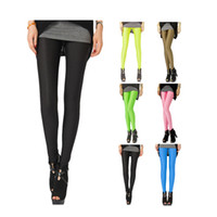 Wholesale Shiny Pants Women Tight - S5Q Women Neon Candy Shiny Bright Fluorescent Glow Stretch Tights Leggings Pants AAADFV