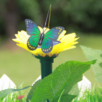 Wholesale Flip Flap Sunflower - Pretty Design Solar Butterfly Home Romantic Garden Decorations Simulation Flying Butterflies 60pcs Flip Flap solar sunflower Butterfly A175L