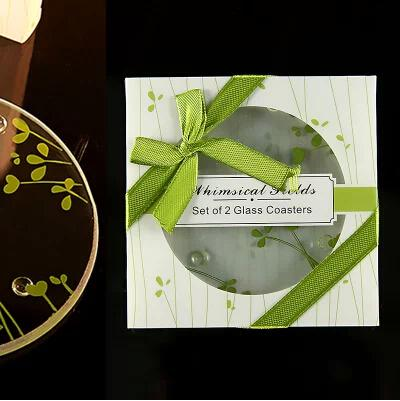 Neue Ankunfts-Glasuntersetzer in den runden grünen Blättern entwerfen 2019 Hochzeits-Geschenk-Glasschalenmatte in einem Pakethochzeitsandenken Parteibevorzugung