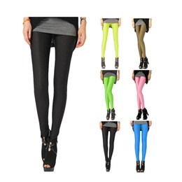 Wholesale Tight Black Stretch Pants - S5Q Women Neon Candy Shiny Bright Fluorescent Glow Stretch Tights Leggings Pants AAADFV