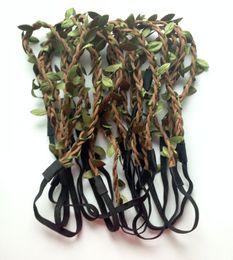 Nuovi stili di treccia dei capelli online-2014 nuovo stile All'ingrosso della Boemia foglie in pelle Fascia HAIRBANDS intrecciato in pelle elastica Headwrap hairband ornamenti per capelli