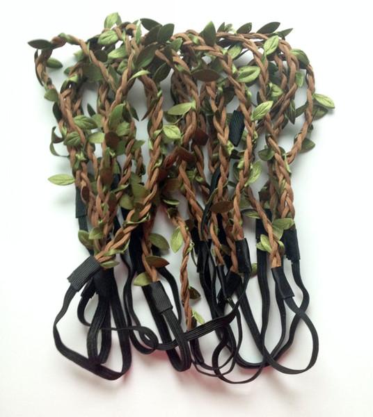 2014 nuovo stile All'ingrosso della Boemia foglie in pelle Fascia HAIRBANDS intrecciato in pelle elastica Headwrap hairband ornamenti per capelli