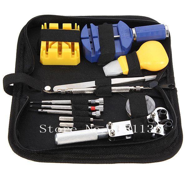 Wholesale-New 13pcs fashion Watch Repair Tool Kit Set Case Opener Link Spring Bar Remover Tweezer Free Shipping