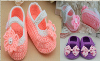 Wholesale Crochet Girl Booties - 6%off,Crochet Baby Booties, Crochet Baby shoes orang pink with white strap flower style, HIGH Quality,NEW ARRIVAL,HOT SALE,5pairs 10pcs