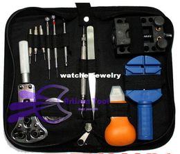 Wholesale Clock Repair Tool Kit - Wholesale-Free Shiping13 Piece set Deluxe Watch Band Repair Tool Kit Practical table tool watch repair tool kit clock back case opener407