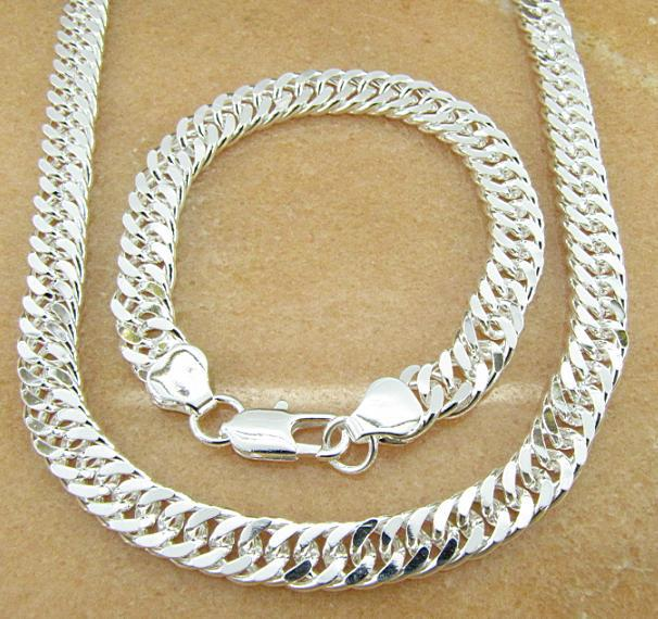HOT 925 STERLING SILVER PLATED 9MM MEN'S FIGARO NECKLACE & BRACELETS SET JEWELRY