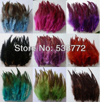 Wholesale Craft Masks Wholesale - Free Shipping! Hot sale 200pcs lot Mixed Color 5-6'' 9-15cm ROOSTER SADDLE CAPE CRAFT FEATHER for sinamay hat party mask