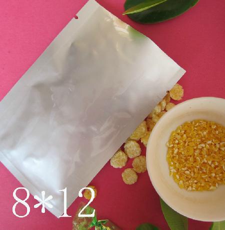 Gratis frakt / parti 8 * 12cm Värmeförsegling Ren Aluminiumkassar Vakuumpås Piller Väskor Kapsel Väskor Förpackning Väska För Mat Tea Kaffeväska