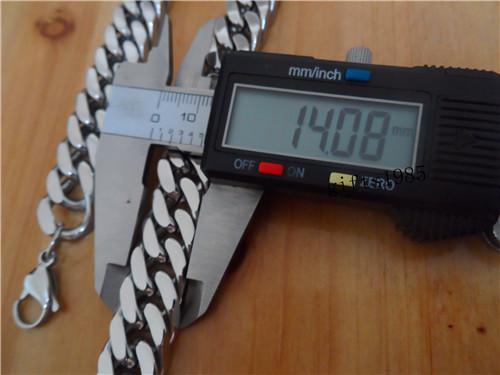 Collier pour chaîne en mailles cubiques en argent massif pesant très lourd en acier inoxydable de 26