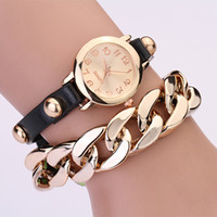 Wholesale Synthetic Leather For Bracelets - NEW HOT wrap Around Bracelet Watch Punk bracelet Synthetic Leather Watch for girls and woman many color