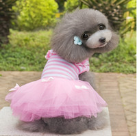 Wholesale Pretty Pet Dog Clothes - Popular!2014 pet dress,pretty dog clothes,stripe princess skirt for dog,high quality Pet Supplies,Free shipping.5 pcs.F