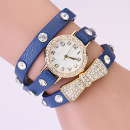 Wholesale Leather Wrapped Belt Buckle - 50pcs fashion woman rhinestone New wrap Around Bracelet Watch Bowknot Crystal leather chain women's Quartz wrist watches