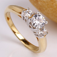 Wholesale Solid White Gold Ring Setting - Women's Solid 925 Sterling Silver Promise Ring Yellow & White Gold Finish Size R134D