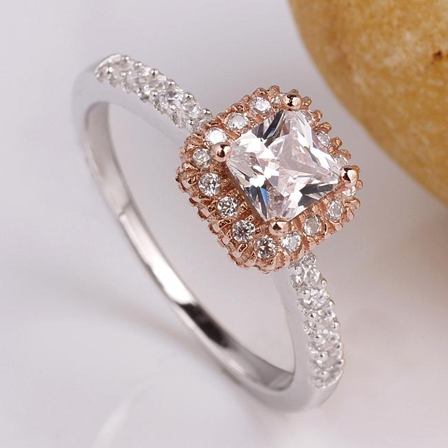efc25375c5551 2-tone Princess Cut Women 925 Sterling Silver Promise Ring Rose Gold 2-tone  Finish Size R148D