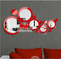 Wholesale wall stickers ring - Creative 3D Ring & Circles Mirror Sticker DIY Fun Wall Decal Sticker