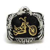 Wholesale Ring Size 15 - Size 8 to size 15 Motorcycles Top Quality Motor biker Ring Wholesale Price 316L Stainless Steel Gold&Silver Biker Style Ring