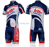 Wholesale Reflective Bike Gear - Lotto-Belisol Team Cycling Jersey Short Sleeve Bike Navy Blue White Tops Bib Shorts Anti Bacterial Male Elasticity Lycra Polyester Bike Gear