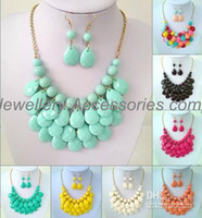 Wholesale Bubble Bead Necklaces - 6sets(necklaces and earrings) Bubble Bib Statement Necklaces Choker Colorfull Resin Bead Necklaces For Ladies
