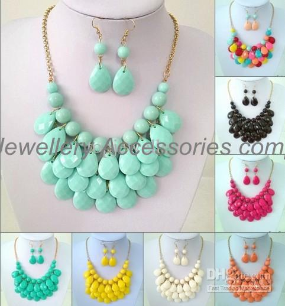 6 conjuntos (colares e brincos) Bolha Bib Declaração Colares Gargantilha Colorfull Resina Bead Colares Para Senhoras