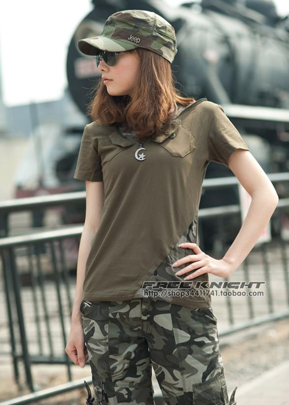 T Shirt Women Women Fashion Army T Shirt Camouflage T