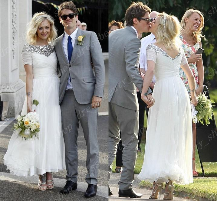 Discount 2016 Fearne Cotton Celebrity Wedding Dresses Tea Length Chiffon A Line Garden Beach High Neck Modest Short Sleeve Beaded Sequined Fancy Gown