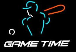 GAME TIME Neon Sign Real Glass Tube Bar Store Business Advertising Home Decoration Art Gift Display Metal Frame Size 18''X18''