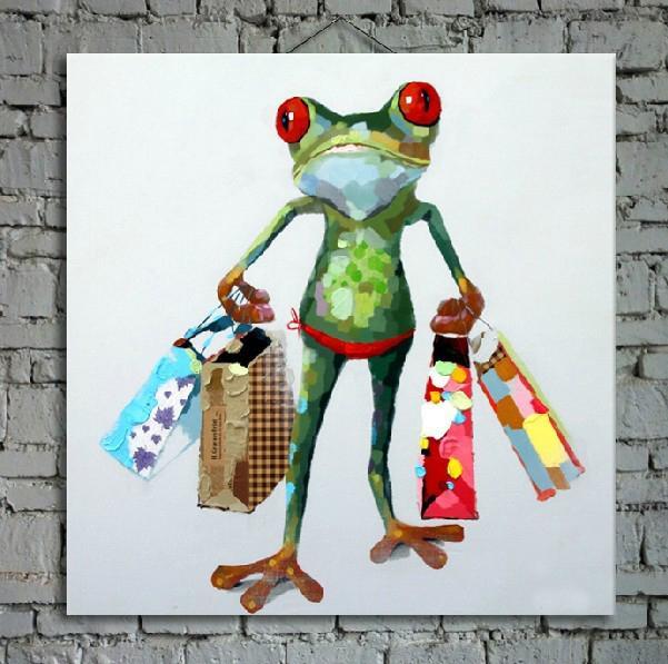 Мультфильм картина маслом на холсте абстрактные животные стены искусства для украшения дома 1шт без strecth / рамка