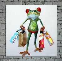 abstrakte blumenvase gemälde großhandel-Cartoon Ölgemälde auf Leinwand Abstrakte Tier Wandkunst für Heimtextilien 1pc ohne strecth / frame