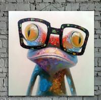 abstrakte ölgemälde tiere großhandel-Cartoon Ölgemälde auf Leinwand Abstrakt Tier Wandkunst für Dekoration Schönheit Frosch 1pc ohne strecth / frame