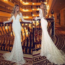 Wholesale Mermaid Open Back Wedding Gowns - Retro Dimitrius Dalia Lace Wedding Dresses with Plunging V Necklines Open Back Long Sleeves Court Train Modest Bridal Gowns Cheap Plus Size