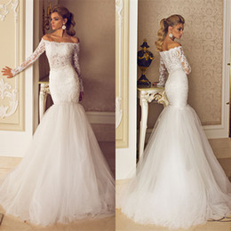 Wholesale Dalia Dress - Dimitrius Dalia 2014 Newest Style Lace Mermaid Wedding Dresses Tulle Off Shoulder Long Sleeves Floor-Length Trumpet Bridal Gowns Cheap SSJ