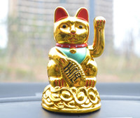 Wholesale Solar Power Lucky Cat - Golden Fortune cat Maneki Neko Lucky Cat Solar Power Good Fortune Figurine Charm Waving Paw Fengshui Golden Cat Fit Christmas Festival Party