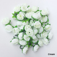Wholesale Rose Head Cream - Hot Sale Cream Colors Artificial Silk Rose Flower Head Real Touch Wedding Home Decoration Bandwagon 100 Pcs Lot Free Shipping