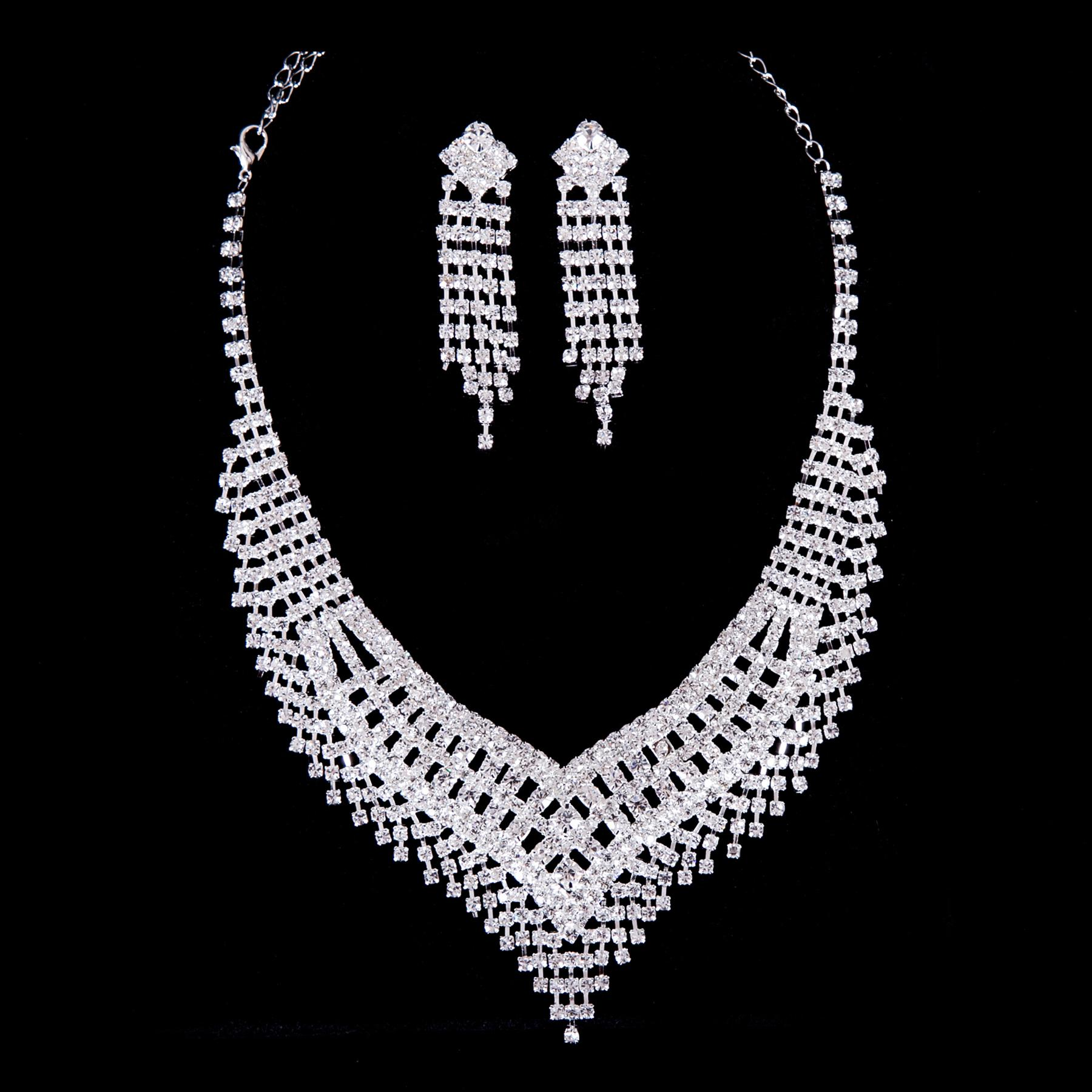 New Arrival Charming Sparkling Diamond Necklace Earrings Silver