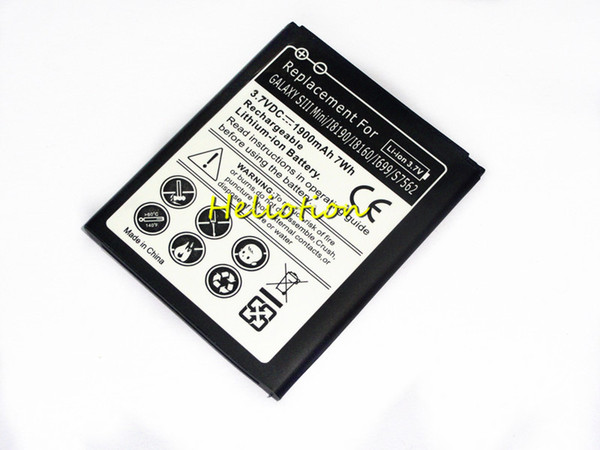 1900mAh 3.7V Cell Phone Battery For Samsung Galaxy S3 Mini i8190 ACE 2 i8160 i699 S7562 Replacement Batteries 100pcs/Lot