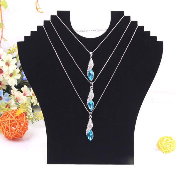 best selling Free Shipping Black Velvet Mannequin Cardboard Necklace Holder Rack Shelf Foldable Pendant Jade Jewelry Display Stand