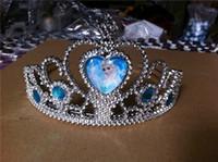 Wholesale Diamond Pageant Dresses - children girl's frozen tiara dress Elsa Anna princess crowns hearts diamond tiara baby girls party hair accessories pageant hairbands gift