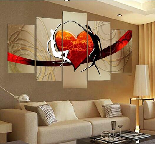 Lovers Story Hot Love Hearts Moderna Pittura a olio astratta su tela Wall Art Decorazione regalo la decorazione domestica