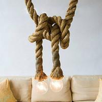 ingrosso pendente in stile edison-Lampadario a 2 teste E27 25MM 2 metri Lampadario a canapa in corda Loft Special Edison Lampadario a sospensione stile vintage