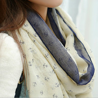Wholesale Free shiping spring new women s navy style anchor fluid lengthen women s large cape scarf color