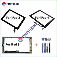 Wholesale Digitizer Sticker Ipad - For iPad 2 3 4 Touch Screen Glass Digitizer Assembly with Home Button & Adhesive Glue Sticker Replacement Repair Parts & Free tools