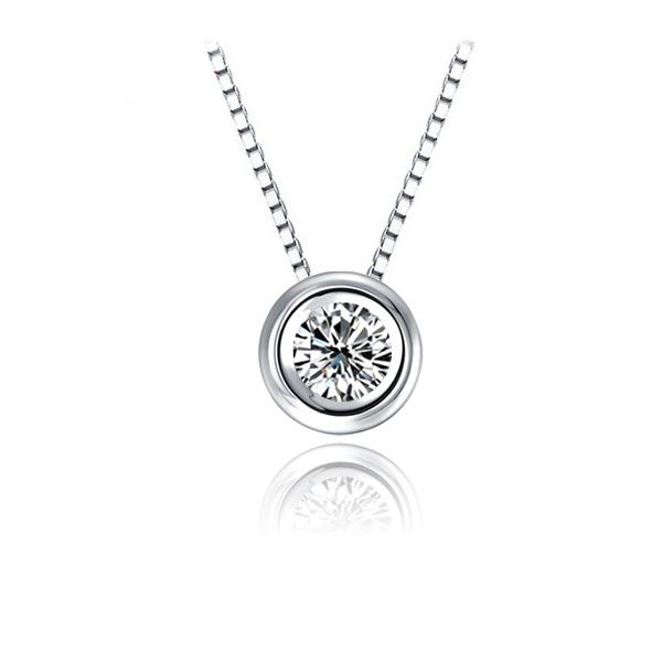 Wholesale 05ct round diamond pendant nacklace 925 sterling silver see larger image mozeypictures Image collections