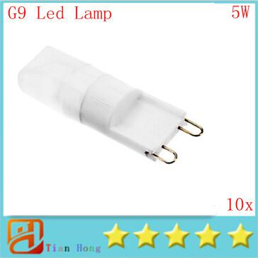 10 unids / lote regulable MOQ Mini G9 110V-220V 5W LED lámpara de cristal de cerámica lámpara de bulbo de maíz COB Spot Light Cool / Warm White 360 grados