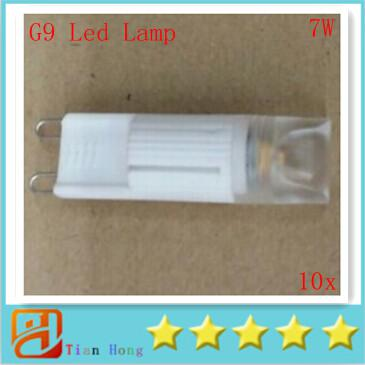 10pcs/lot 2014 Dimmable New Arrival AC COB G9 Lamp PC Cover 7W G9 AC 110V-240V Led Light Bulbs Warm White 2700K Cool White 6500K Ra>80