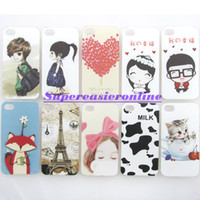 Wholesale 4s Eiffel - 10pcs lot Frosted Nanimeter Surface Painting Fashion Cute Fox Cat Eiffel Tower Pattern Hard PC Case Cover For APPLE iPhone 4 4S