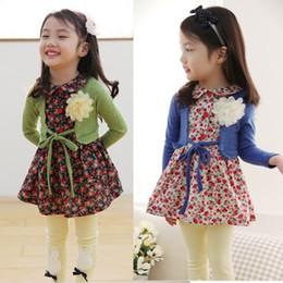 Wholesale Boat Neck Cardigan - Girls Floral Print Dress with Sweater cardigan 2 pcs set Dresses For Girls Fall Dress 10pcs=5 foral dress +5 sweater