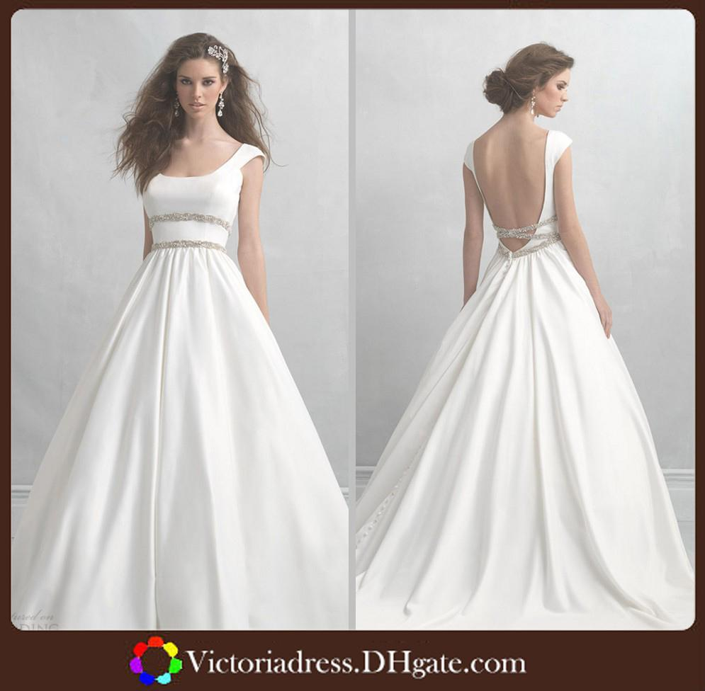 Elegant Cap Sleeve White Ball Gown Wedding Gowns Simple Modest ...