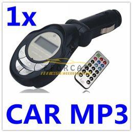 canción mp3 Rebajas 10 Unids / lote Negro Reproductor de MP3 para Coche Transmisor FM con Control Remoto para SD / MMC / USB / MP3 Cable de Audio Envío Gratis
